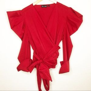 New York & Company Red Geo Puff Sleeve Blouse